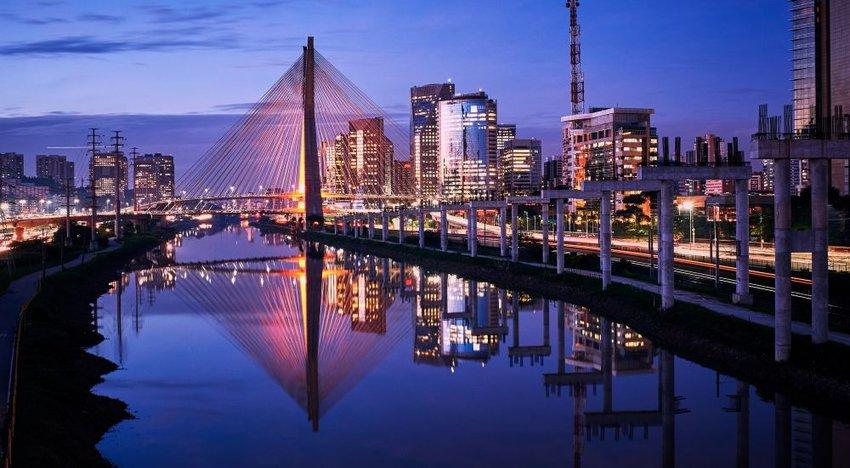 Photo of Sao Paulo skyline lit up at night