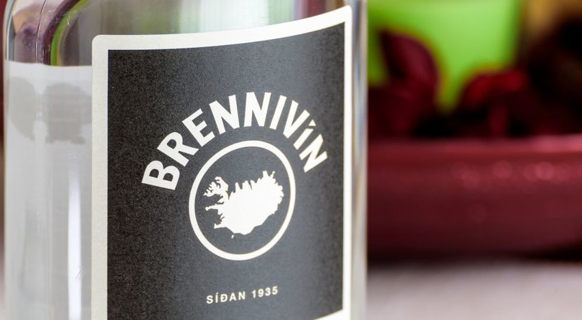 Closeup photo of Brennivin liquor bottle