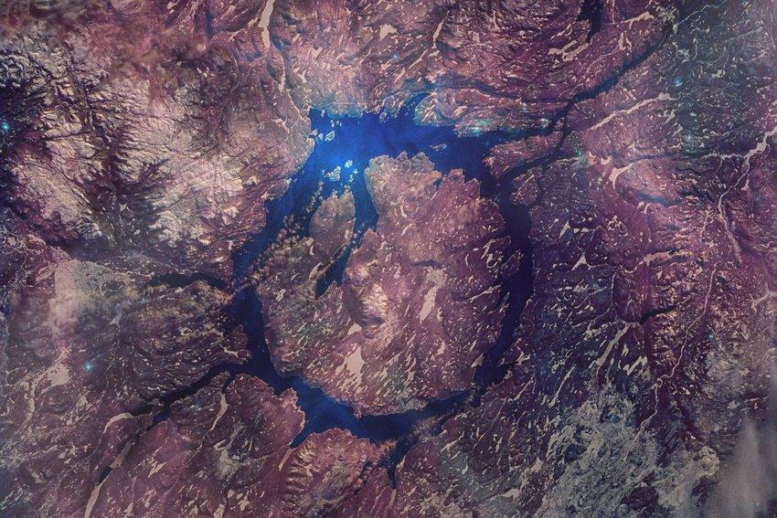 Aerial photo of Manicouagan crater
