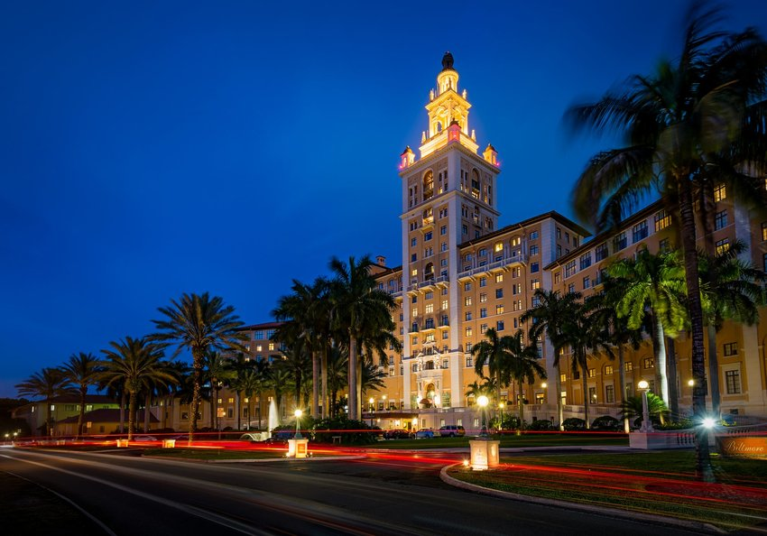 The Miami Biltmore lit up at night