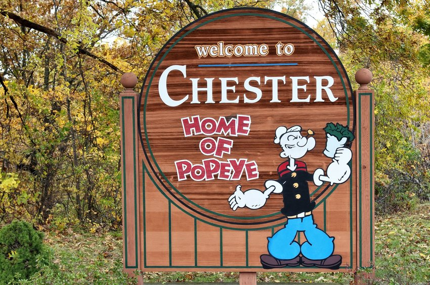 Photo of a sign that reads, Welcome to Chester Home of Popeye