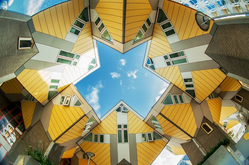 Cubic Houses from below in Rotterdam