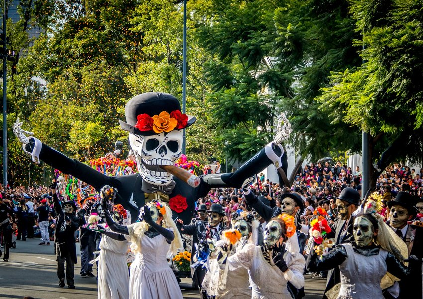 Parade of people dressed up in skeleton costumes