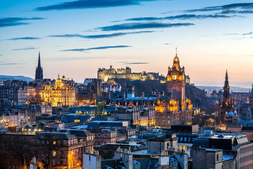 Beautiful cityscape in Scotland at night