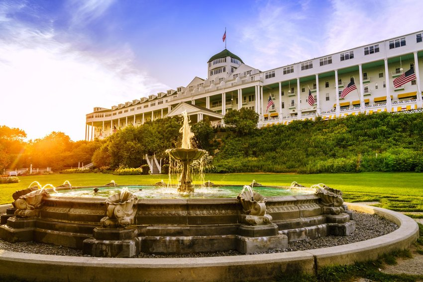 The Grand Hotel on Mackinac Island at sunset