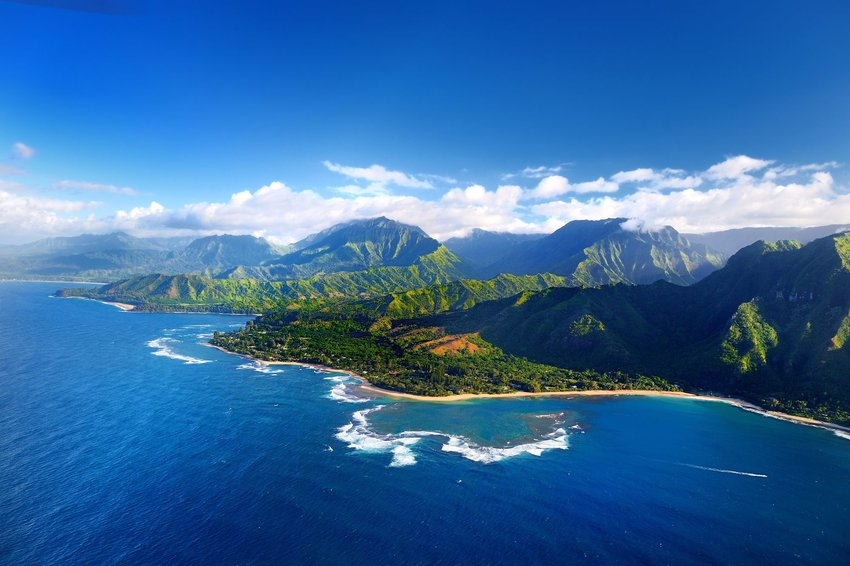 Aerial view of Hawaiian island