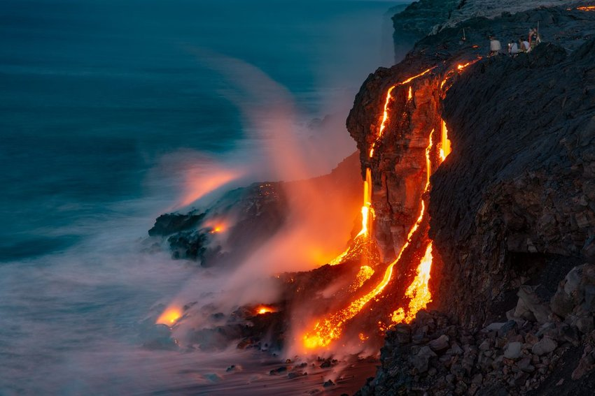 Magma flowing into the ocean in Hawaii Volcanoes National Park