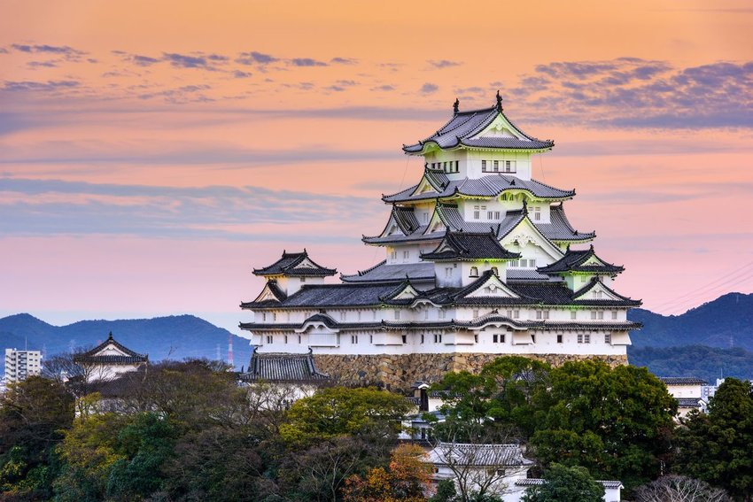 Exterior of Himeji Castle located in the Hyōgo Prefecture of Japan