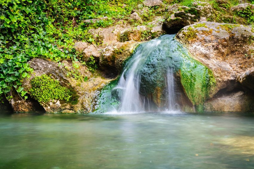 Water flowing over a rock in Hot Springs National Park, Arkansas