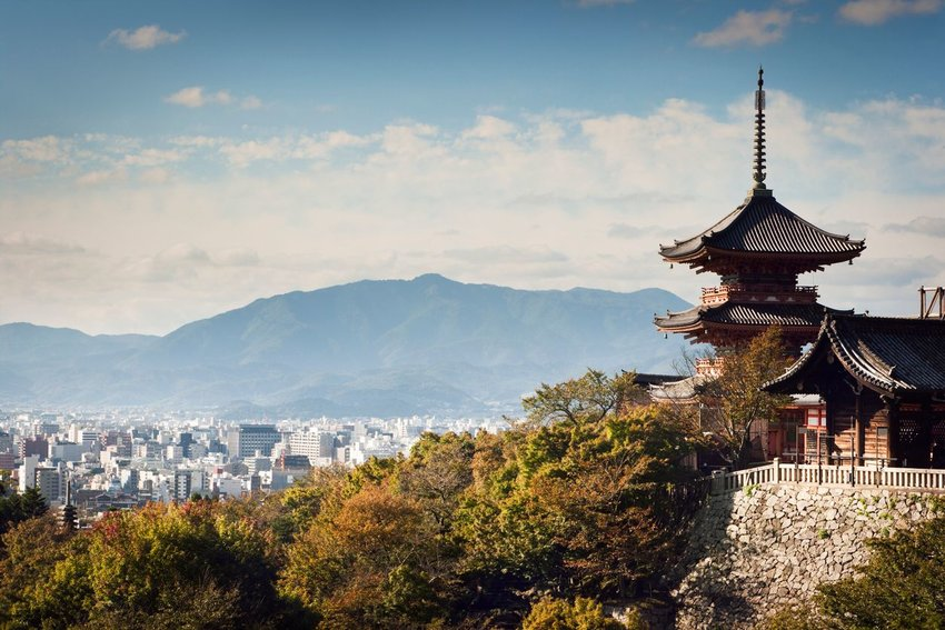 Photo of Kyoto skyline and temple