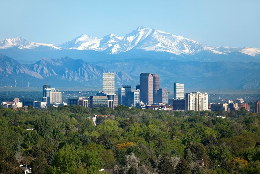 Aerial photo of the Denver city skyline