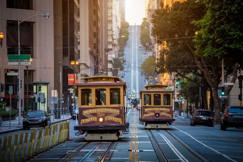 Photo of cable cars on the street in San Francisco