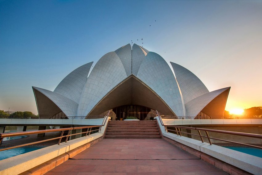 Exterior of the Lotus Temple in New Delhi, India