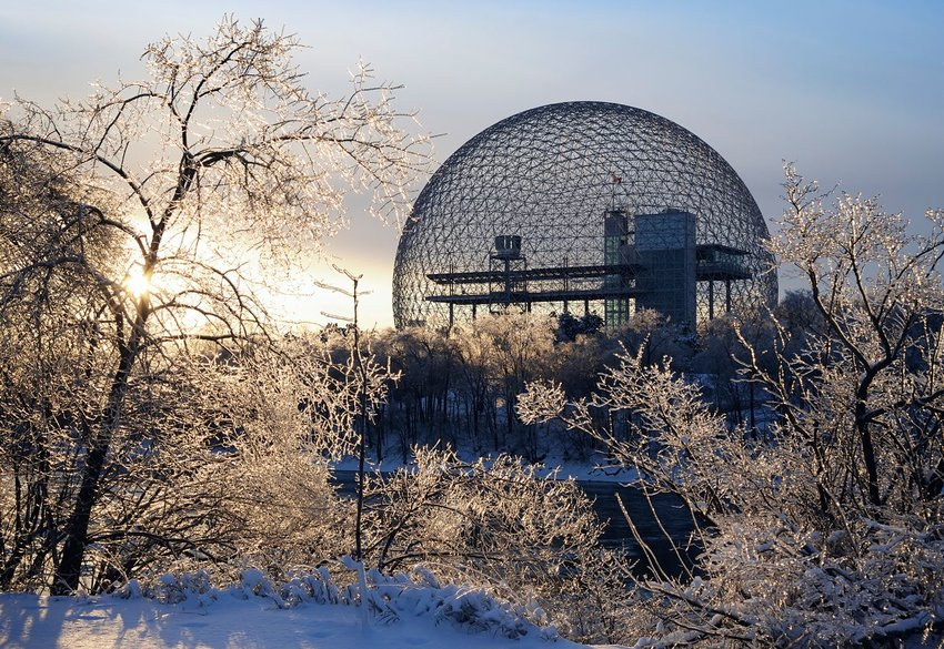 The Biosphère during winter in Montreal, Canada