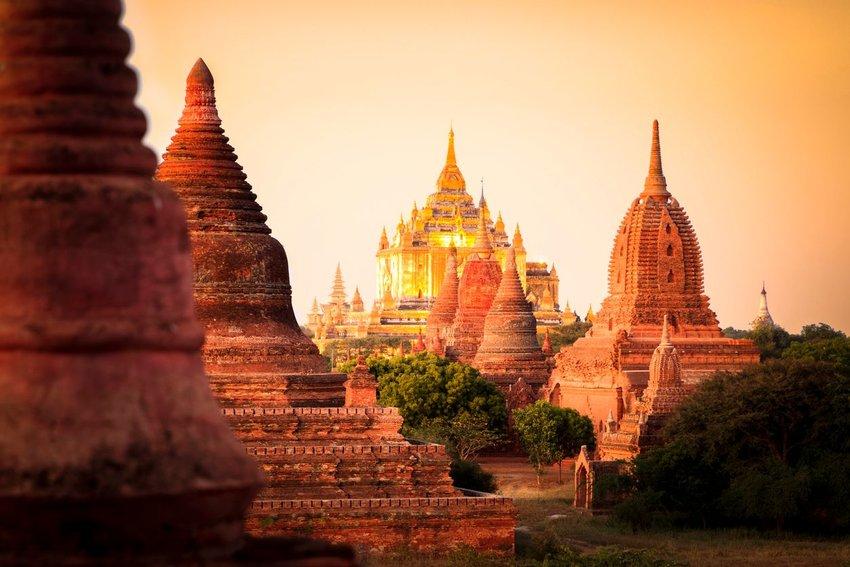 Myanmar temples at dusk
