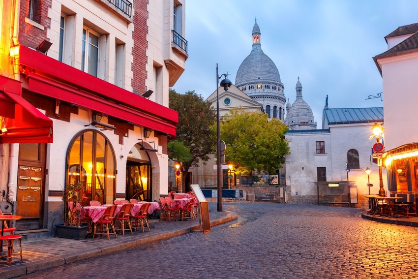 Photo of Cafe on a Paris cobble stone street