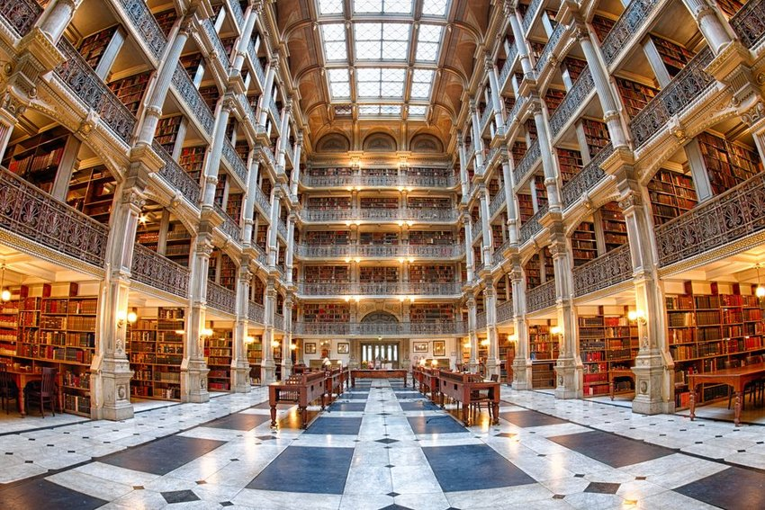 Interior of the George Peabody Library in Baltimore, Maryland