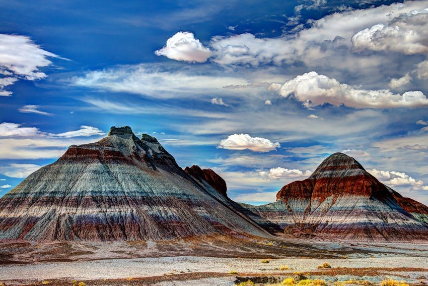 Two multi-color peaks in Petrified Forest National Park, Arizona