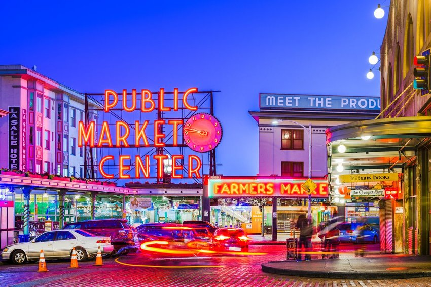 Pike's Place Market in Seattle, Washington lit up at night