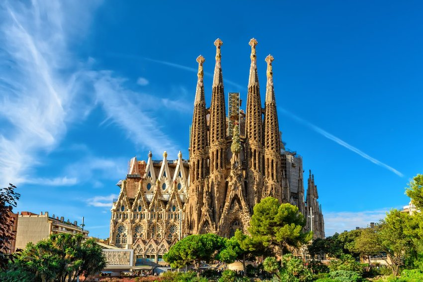 Exterior of La Sagrada Familia in Barcelona, Spain
