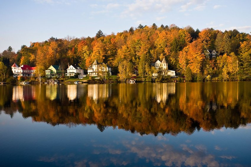 Saranac Lake in the fall