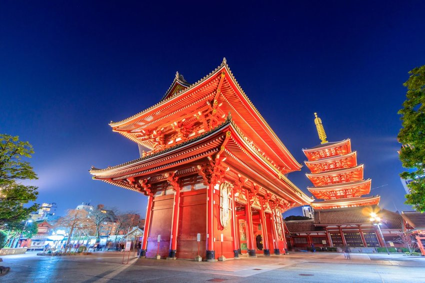 Exterior of Sensoji Temple in Tokyo, Japan at night