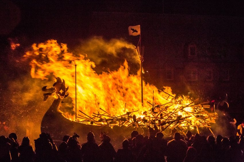 Photo of the burning of a traditional Viking ship