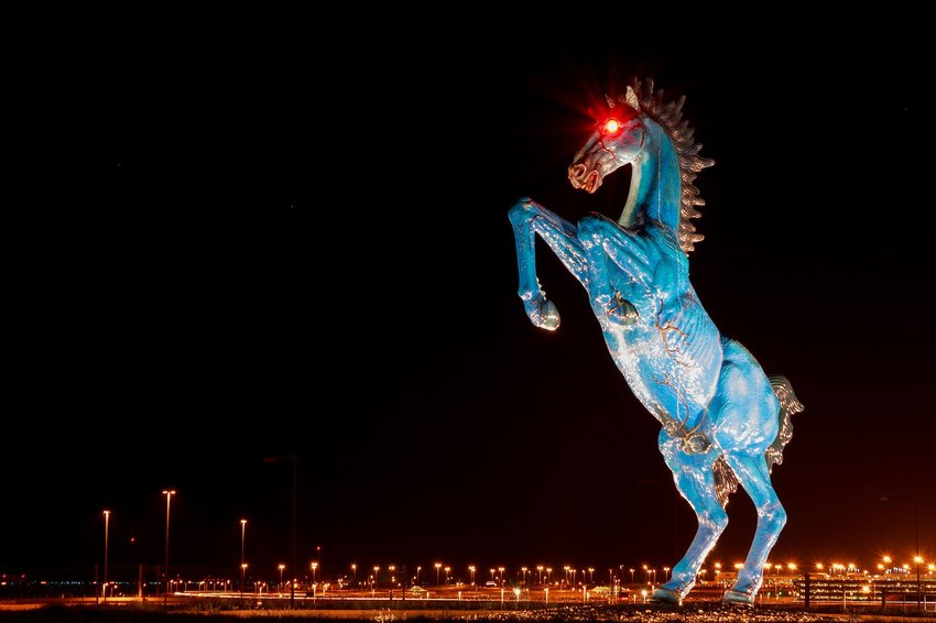 The Giant Statue of a Blue Horse Outside the Airport Killed Its Creator