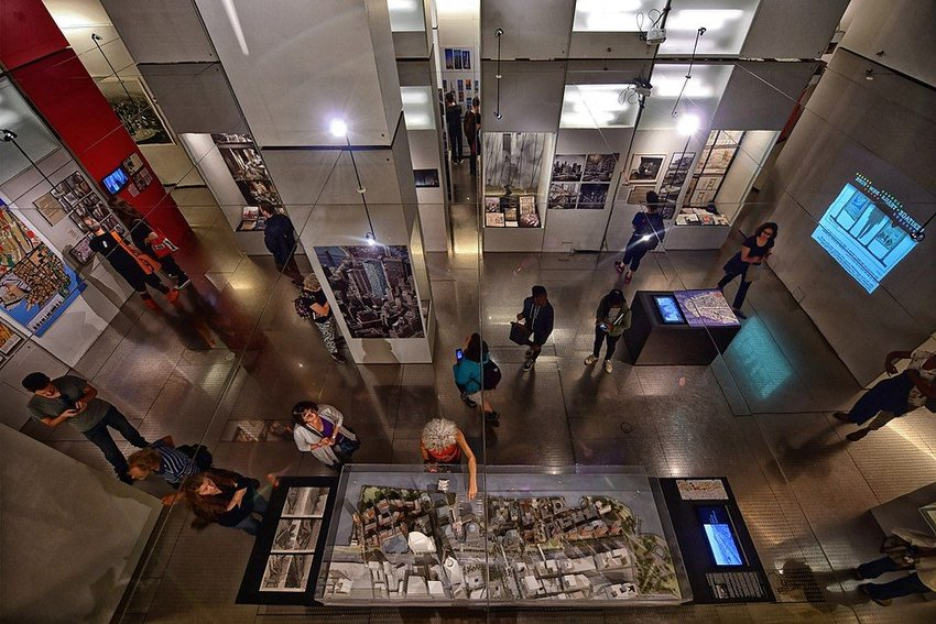 Main room in the Skyscraper Museum shown from above