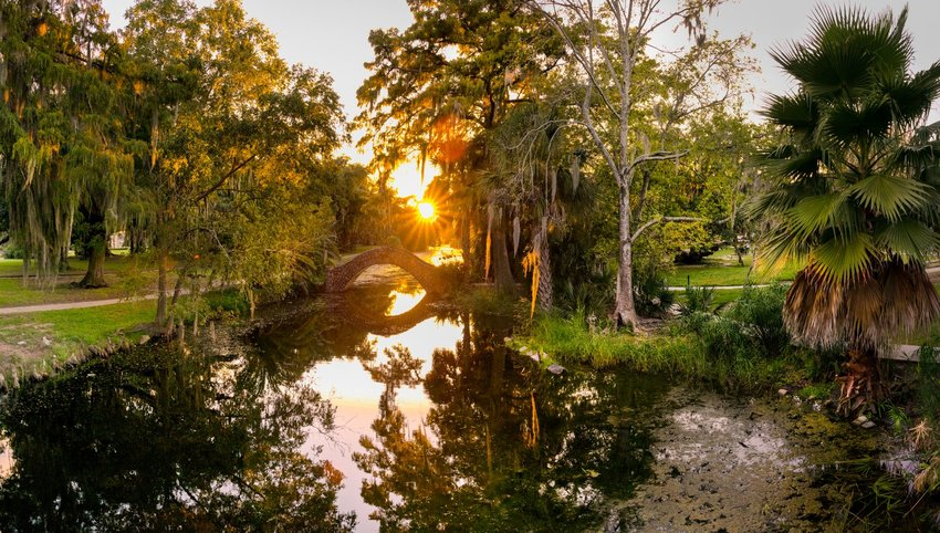 City Park at sunset in Louisiana