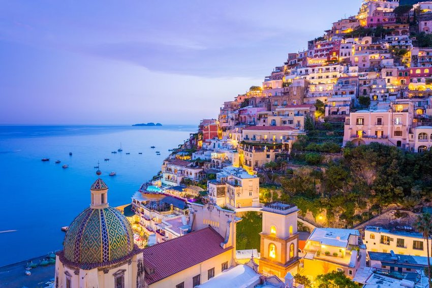 Houses on a hill at Amalfi Coast in Italy