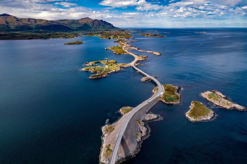 An aerial view of the Atlantic Road in Norway