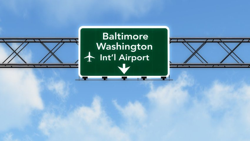 Baltimore Washington International Airport sign in Baltimore, Maryland