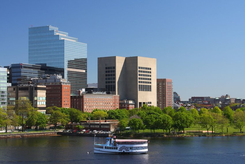 Boston skyline featuring Massachusetts General Hospital