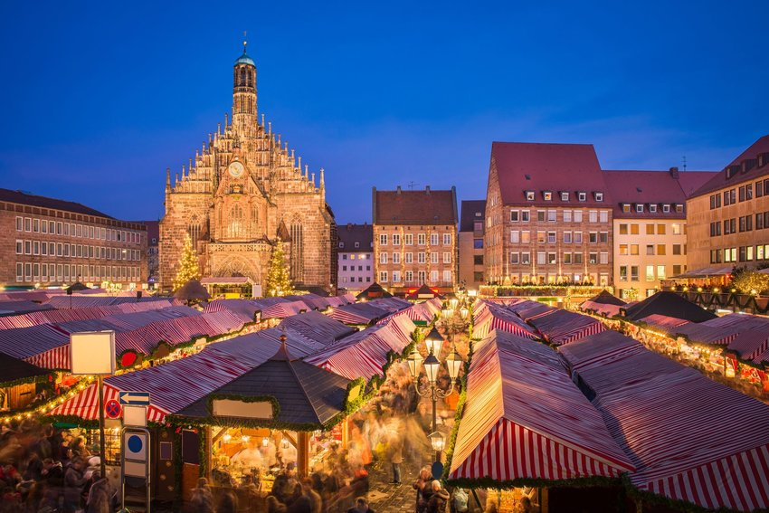 The stalls of the Christmas Market in Nuremberg, Germany