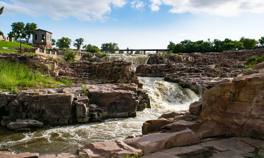 Downstream of a waterfall along Big Sioux River in Falls Park
