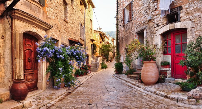 A cobblestone street in France