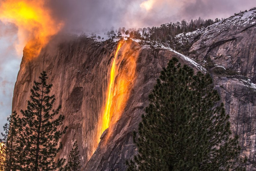 Sunlight reflecting off of Horsetail Falls to make it look like fire