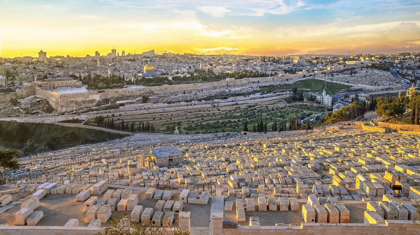 Aerial view of the Jewish Cemetery on the Mount of Olives at sunrise