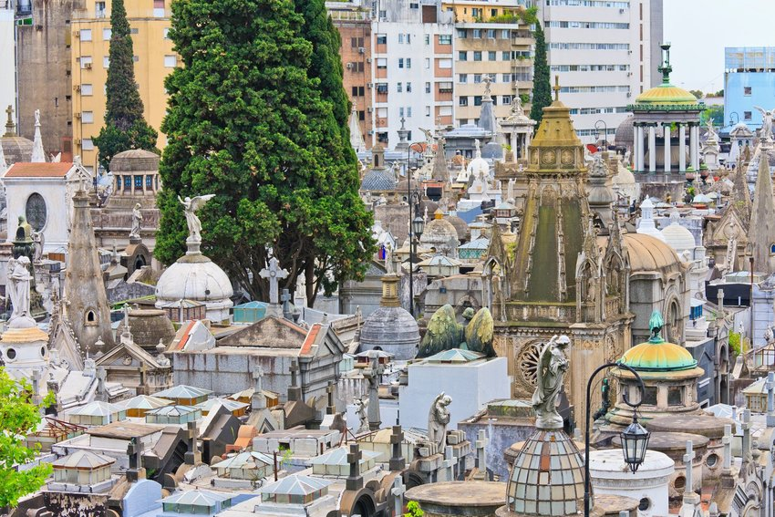 Aerial view of the streets and tombs in La Recoleta