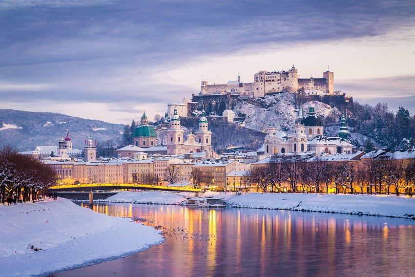 Salzburg's skyline as the city is covered in snow