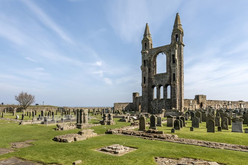 Tombstones and the ruins of St. Andrews Cathedral at the St. Andrews Cathedral Cemetery