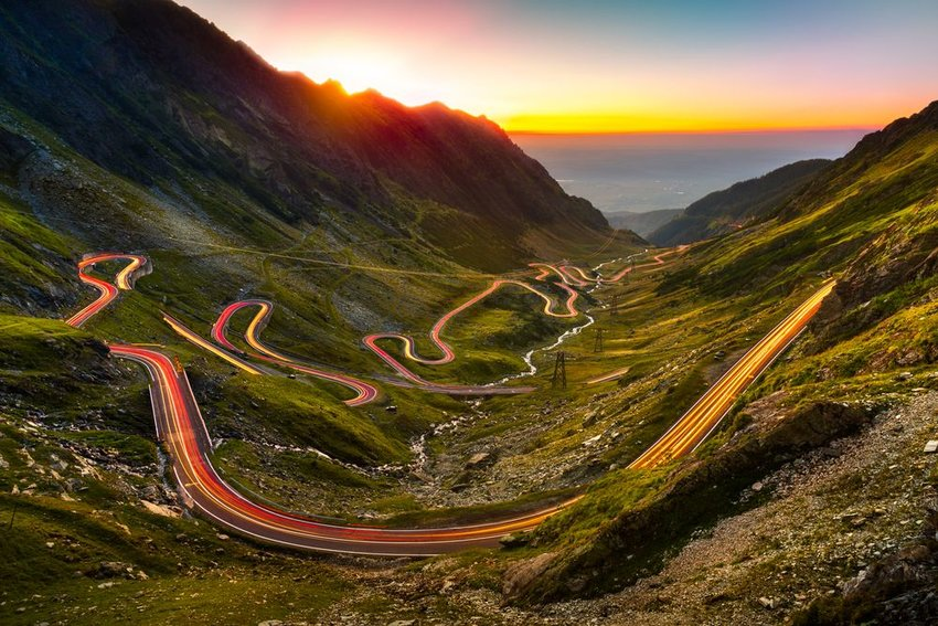The historic Transfagarasan road in Romania