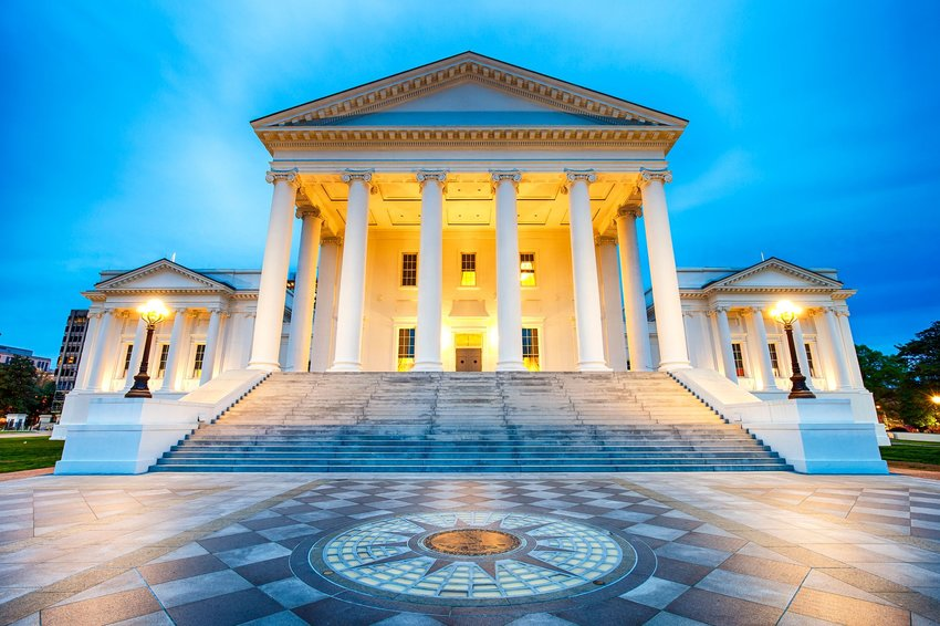 Virginia state capitol building at dusk