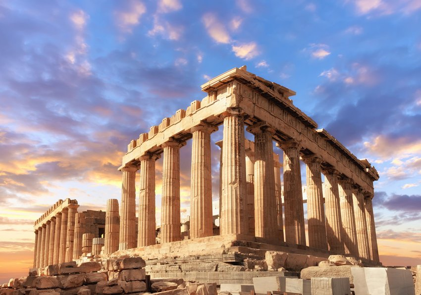 Acropolis in Athens at sunset