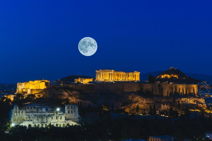 Athens at night with full moon