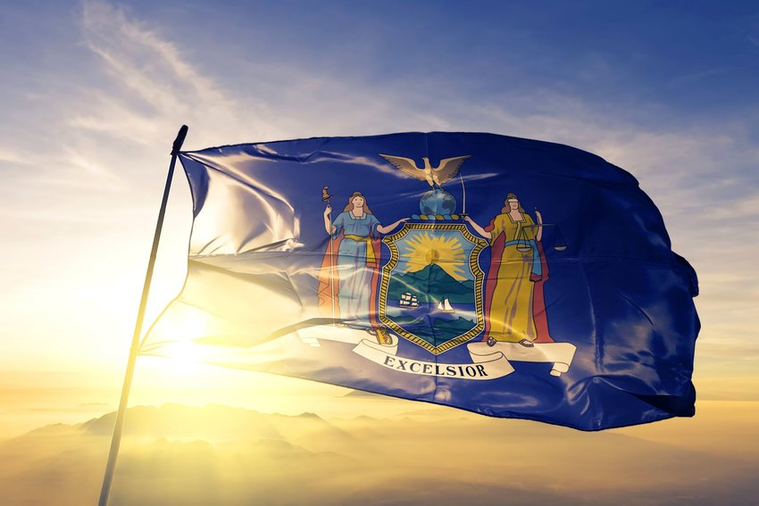 New York state flag in the sunlight