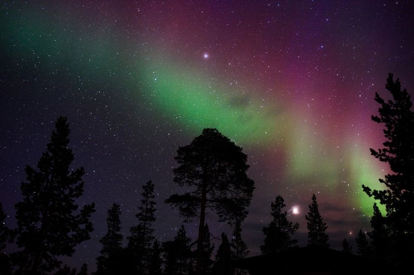 Night sky with stars and northern lights