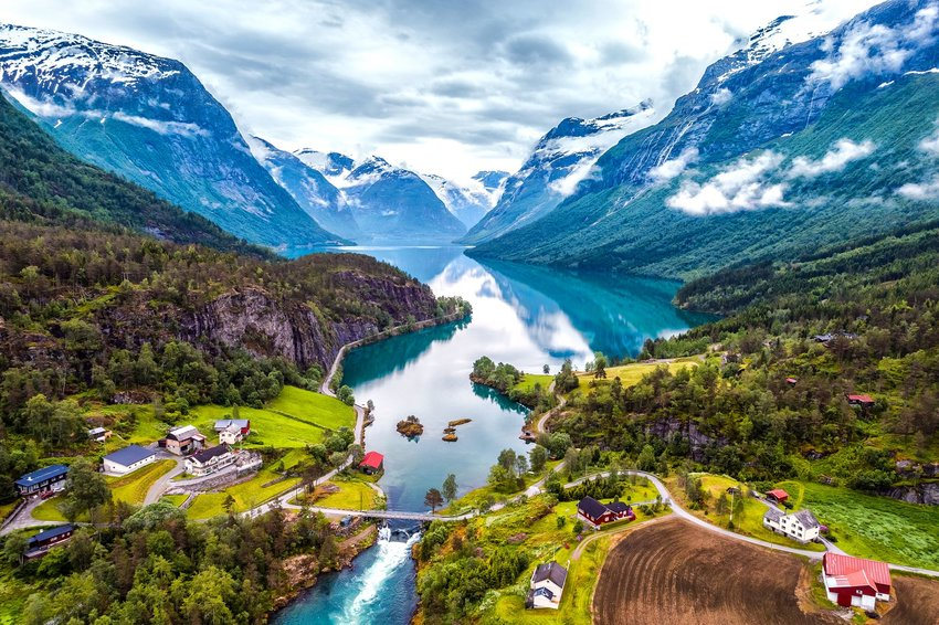 aerial view of lake and mountains in Norway