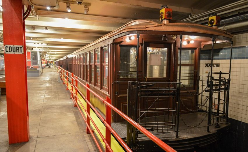Old subway train on display in the New York Transit Museum